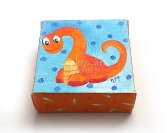 Dinosaur Mini Painting, Daily Doodle 6/10/15 4x4 Miniature acrylic canvas art