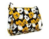Medium Crossbody Purse, Poppy Fabric Messenger Bag, Yellow Black White Purse, Cotton Pocketbook, Fabric Purse, Cross Body Bag, Shoulder Bag