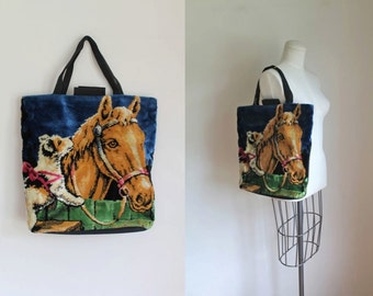 vintage tapestry bag - PUPPY & HORSE knitting tote bag