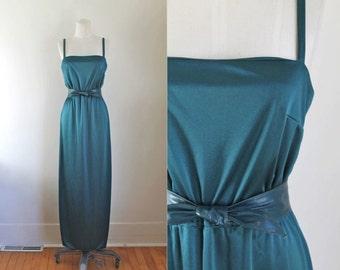 vintage 1970s maxi dress - CEDAR LAKE teal slip dress / XS-S