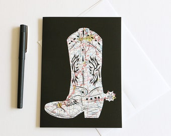 Give 'em The Boot // Texas Cowboy Boot Greeting Card // 5x7 Frameable Stationary
