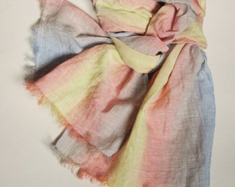 Linen scarf in pastel colors original long unisex striped shawl
