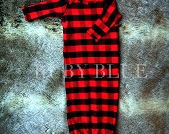 Buffalo Plaid Baby Gown - Unisex Boy / Girl