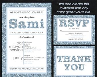 Bat Mitzvah Invitation - B'Nai Mitzvah Invitations - B'Not Mitzvah Invitations - Blue and Grey Glitter PATTERN - Custom Colors Available
