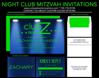 Night Club Lounge Theme Bar Mitzvah Invitation - Guest and Return Addressing - RSVP Reply Card - Celebration - Information - Hotel Info Card