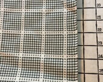 "Medium Weight Decorator Yarn Dyed Black and White Plaid 2 Yards X 54"" Wide #3872"