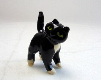 Terrarium Tuxedo Cat - Handmade Miniature Figurine - Terrarium Cat - Terrarium Miniature Figurine - Kitten Figurine - Pottery Animal