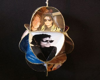 Michael Jackson Album Cover Ornament Made From Repurposed Record Jackets