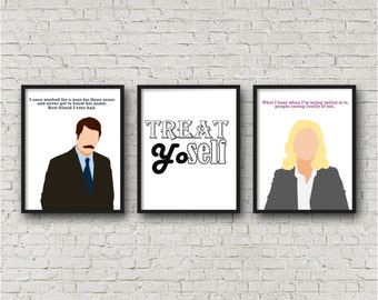 ALL 3 PRINTS - Ron Swanson, Parks Recreation, Treat Yoself, Digital Download, Funny Quote, Parks & Rec, Leslie Knope, Last minute gift print