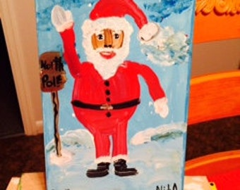 BLACK SANTA  at North Pole original painting by nita marked 1/2 off
