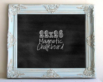 Blue Wedding MAGNETIC CHALKBOARD Distressed Blue Decor Vintage Wedding Framed Chalkboard Pastel Robins Egg Blue Kitchen Calendar Holder