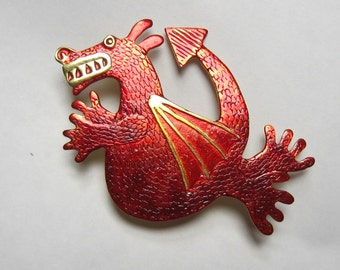Red dragon brooch, scarlet dragon