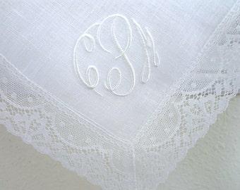 Irish Linen Lace Handkerchief with 3 Initial Monogram & Date