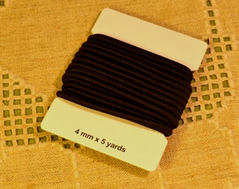 5 Yards Black Cord 4mm Stretch Elastic Rubber And Nylon Card