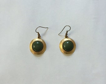 SALE...olive green and gold drop earrings