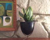 RESERVED FOR MICHELLE Mid Century Modern Black Bullet Planter by Max Klien Inc Roseware Jardinieres