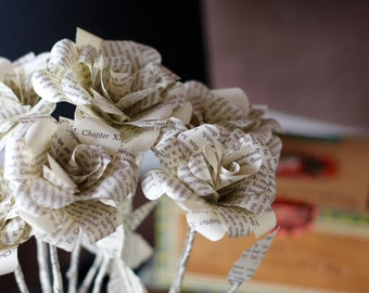 Pride and Prejudice Book Page Flowers - Jane Austen Half Dozen Roses Made From Book Paper