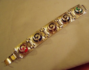 Vintage Hammered Silver Link Bracelet Open Swirl Designs With Colored Glass  8704