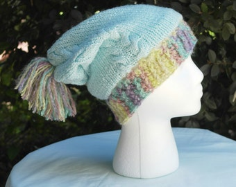 Blue Knit Slouchy Hat