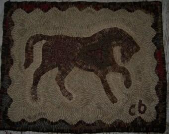 Folk Art Primitive Hooked Rug~Horse