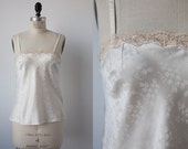 Vintage Christian Dior Lingerie Top Ivory White Camisole Tank Logo Satin Nude Lace Trim S