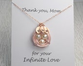Rose Gold Bird Nest Necklace, Personalized Gift for Wife, Mom, Baby Shower Gift,  With/Without Message Card, Thank you Mom, Birthday Gift