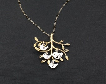 ON SALE Family Tree and  Bird Necklace/Mother Necklace/Silver Gold Mix Color Necklace/Gold Tree/Mama Bird Baby Bird Necklace/Mother Child Ne