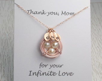 New! Baby Shower Gift/Rose Gold Bird Nest Necklace/With or Without Message Card/Thank you Mom Card/Mother Necklace/Mother's Birthday Gift/