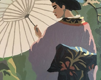 Vintage Japanese Geisha Paint By Numbers - One Pair = Two Paintings