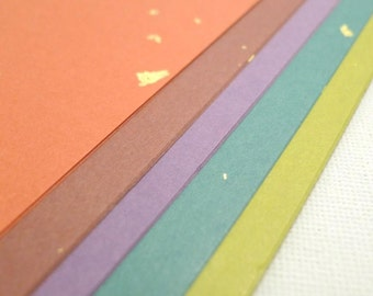 Autumn Hues with gold foil finish - Traditional Japanese Paper Pack for Origami Paper Project- 25 sheets (5 colors)