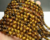 Tiger eyes - 8 mm round beads - full strand - 48 beads - A quality - Yellow tiger eyes - RFG928