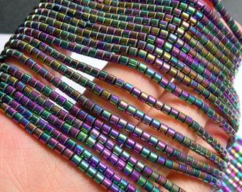 Hematite Rainbow - 3mm tube beads - 1 full strand - 133 beads - AA quality - 3mmx3mm - PHG211