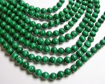 Malachite - 8.6 mm round beads -1 full strand - 46 beads - Genuine Malachite - RFG603