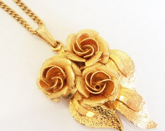 c.1970s Gold Rose Necklace... Mid Century Pendant