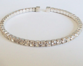 Slim Clear Diamante open Bangle... c.1980s