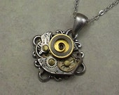 Steampunk Watch Necklace, Small Silver Wrist Watch Plate, Antiqued Silver Filigree
