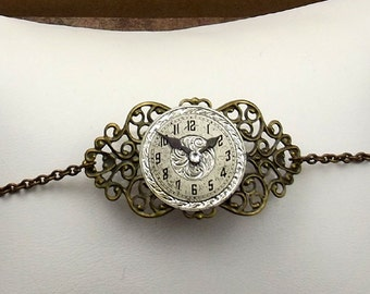 Silver Steampunk Watch Face Bracelet, Bright Victorian Style, Antiqued Brass