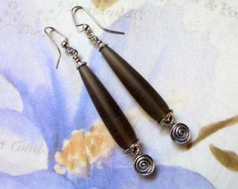 Long Frosted Smokey Gray Teardrop Earrings (2847)