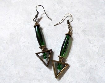 Emerald Green and Brass Earrings (2775)