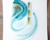 "Original Watercolor painting 11x14   ""Tango""Abstract watercolor painting   Fine Art, Organic Art, Deep sea blue, deep yellow"