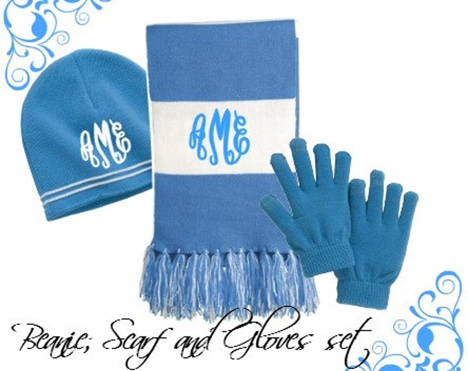 Monogrammed Scarf - Monogram Sports Team Scarf - College Football Team Scarf - Monogram Beanie Hat - Scarf Beanie and Glove set