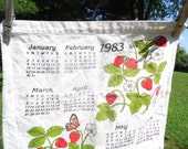 """Tea Towel vintage 1983 with calendar and strawberries in bloom and flowering and butterflies  21 by 13 1/2"""" ready for use or display"""