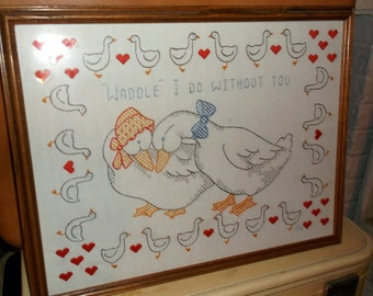 """Vintage Needlepoint Cross Stitch """"Waddle"""" I Do Without You with Ducks and hearts Nursery Decor Baby's Room Child's Room 18 x 14"""" with glass"""