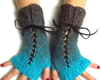 Fingerless Gloves in Turquoise/ Brown Corset Texting gloves Victorian Style