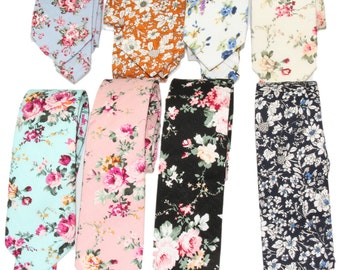 Choose 1 Men's Slim Floral Neck Tie ~ Choice of Blue / Ivory / Aqua / Peach / Black Floral