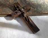 Vintage Cross Gothic Rose Flowers Pendant, Double Cross Design, Bohemian Religious Jewelry