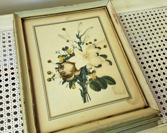 Vintage Wood Box With Botanical Flowers Floral Art Print Under Glass With Mirror, Aged Cream Paint, French Country Shabby Cottage