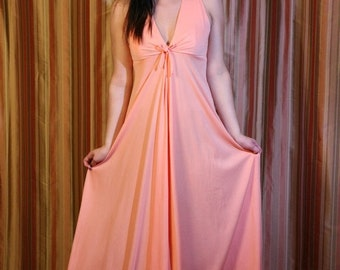SALE Vintage 70s Maxi, Prom Dress in Peach, Apricot