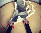 Steampunk, Halloween or Goth Wedding Cake Server set. Halloween Wedding Cutting and Serving Set