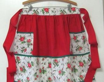 Vintage Red Rose Cotton Kitchen Hostess Half Apron